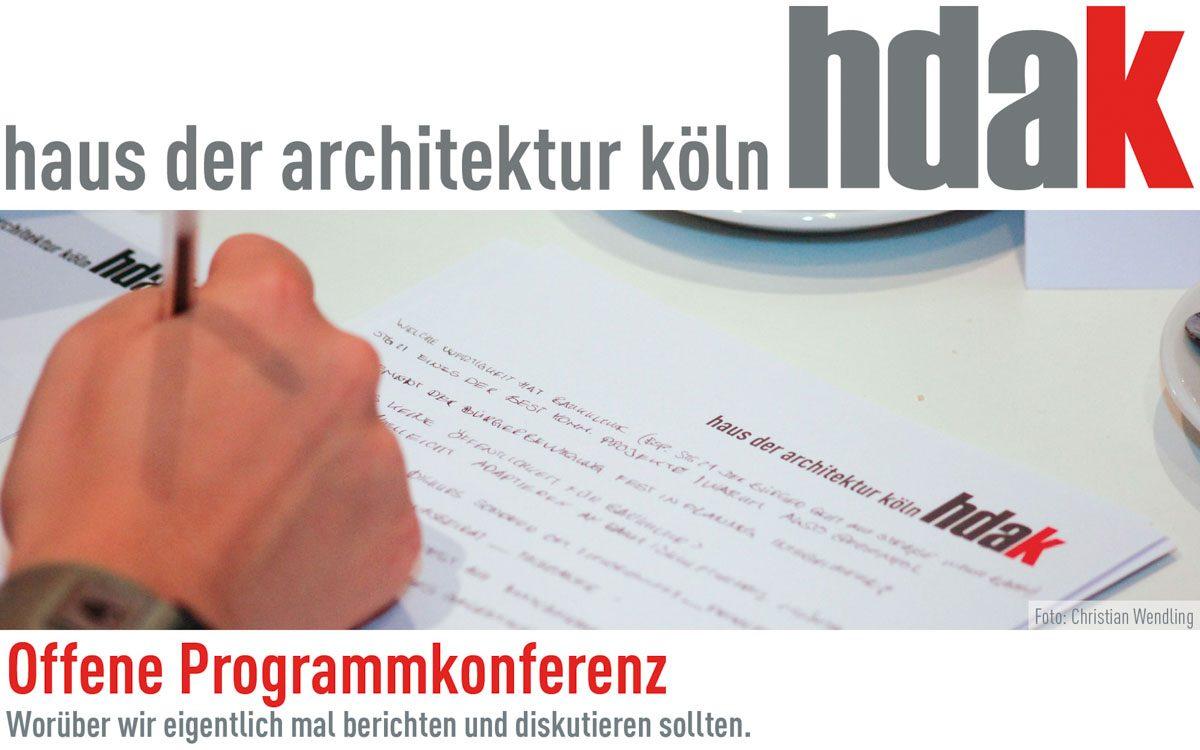 Veranstaltungstipp für den 10. November 2016: Offene Programmkonferenz im Haus der Architektur